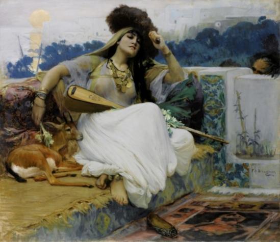Bridgman. Jeune femme sur une terrasse (v. 1889)