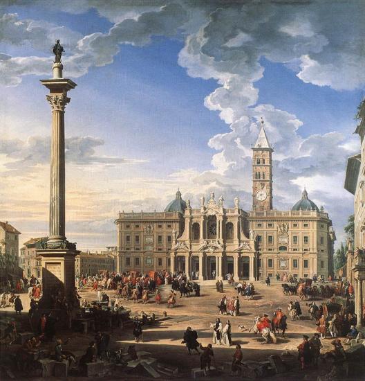 Pannini. La Place et l'Eglise de Santa-Maria Maggiore, 1744