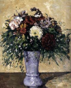 Paul Cézanne. Bouquet de fleurs dans un vase bleu (1873-75)