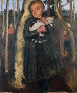 Paula Modersohn-Becker. Enfant dans une forêt de bouleaux avec un chat (v. 1904)