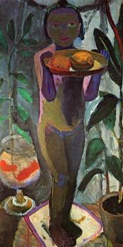Paula Modersohn-Becker. Enfant nu avec bocal de poissons rouge (1906-07)