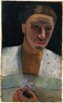 Paula Modersohn-Becker. Portrait de Lee Hoetger avec une fleur (1906)