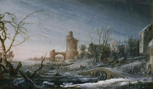 Pierre-Antoine Patel. Paysage d'hiver avec pont et château (1693)