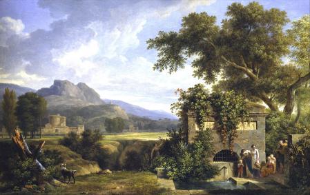 Pierre-Henri de Valenciennes. Paysage classique avec figures buvant à la fontaine (1806)