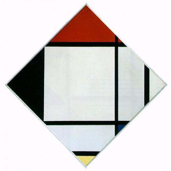 Piet Mondrian. Losange avec rouge, noir, bleu, jaune (1925)