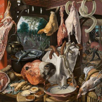 Pieter Aertsen. Étal de boucher avec la fuite en Égypte (1551)
