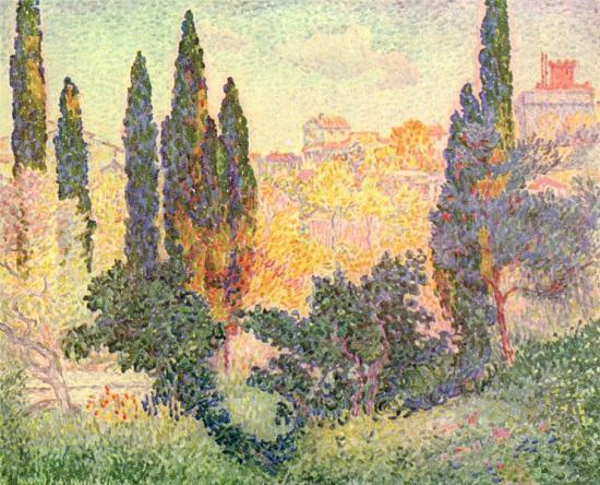 Henri-Edmond Cross. Cyprès à Cagnes (1910)