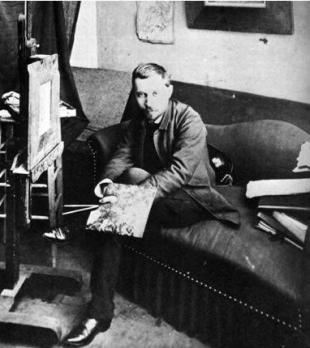 Photographie de Charles Filiger dans son atelier à Paris (1888)
