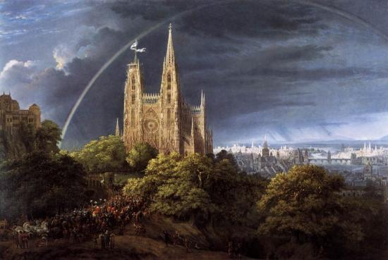Schinkel. Cathédrale gothique avec Palais impérial (1805)