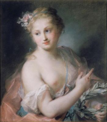 Rosalba Carriera. Jeune fille tenant une couronne de laurier, nymphe de la suite d'Apollon (1720)