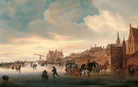 Salomon van Ruysdael. Paysage d'hiver avec patineurs et traîneaux (1660-70)