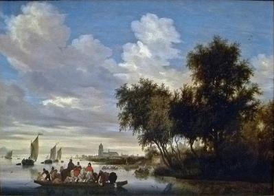 Salomon van Ruysdael. Paysage de rivière avec bac (1649)