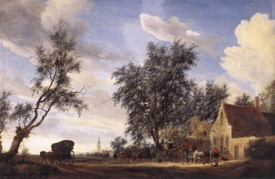 Salomon van Ruysdael. Arrêt à l'auberge (1649)