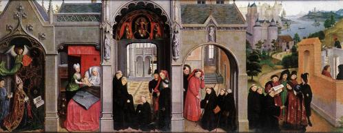 Simon Marmion. Scènes de la vie de saint Bertin, volet gauche (1455-59)