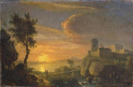 Simon Mathurin Lantara. Paysage au soleil couchant (1750-78)
