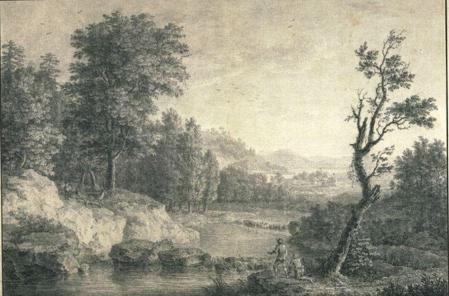 Simon Mathurin Lantara. Paysage avec deux hommes au bord d'une rivière et trois cerfs (1750-78)