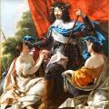 Simon Vouet. Louis XIII entre deux figures de femmes symbolisant la France et la Navarre (1630-43)