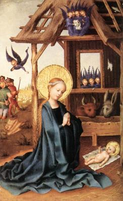 Stefan Lochner. Adoration de l'Enfant Jésus (1445)