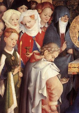 Stefan Lochner. Présentation au temple, détail (1447)