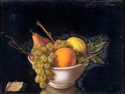 Tamara de Lempicka. Coupe de fruits ou Fruits sur fond noir (1949