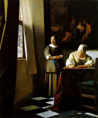 Vermeer. Une dame écrivant une lettre à sa servante (1670-71)
