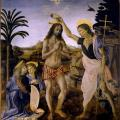 Verrocchio & Vinci. Le baptême du Christ (1472-75)