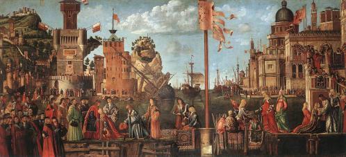 Vittore Carpaccio. Rencontre des fiancés et départ des pèlerins (1495)