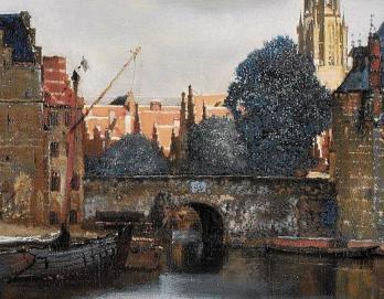 Vue de Delft. Les toits illuminés